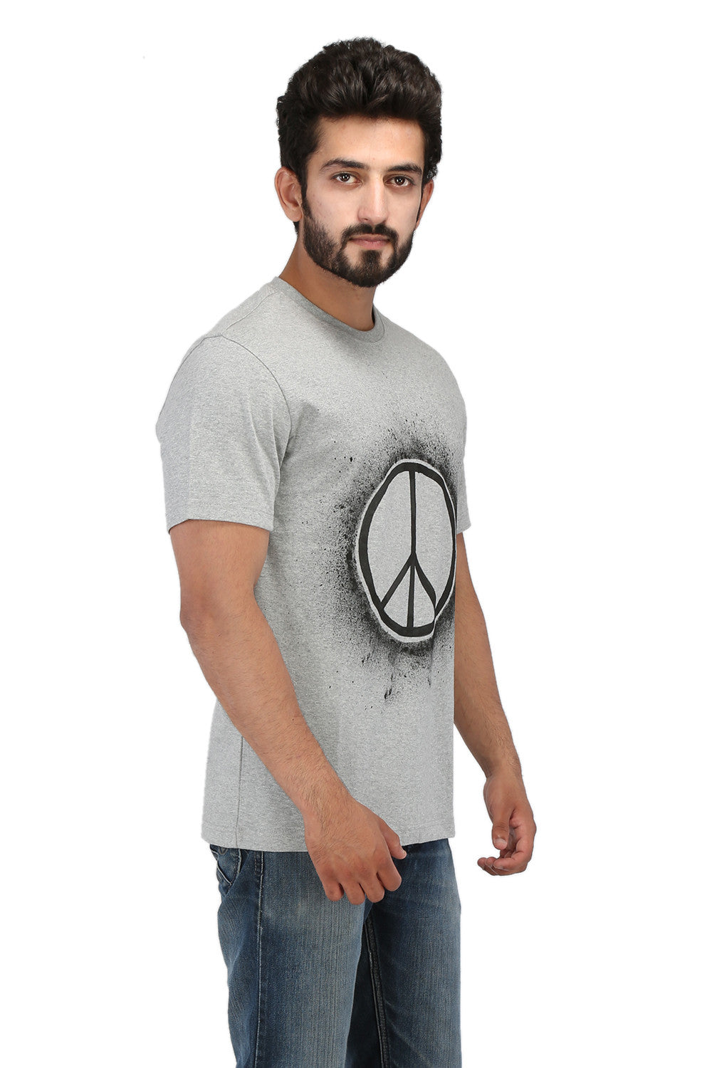 Hand-painted Gleam of Peace Grey T-shirt