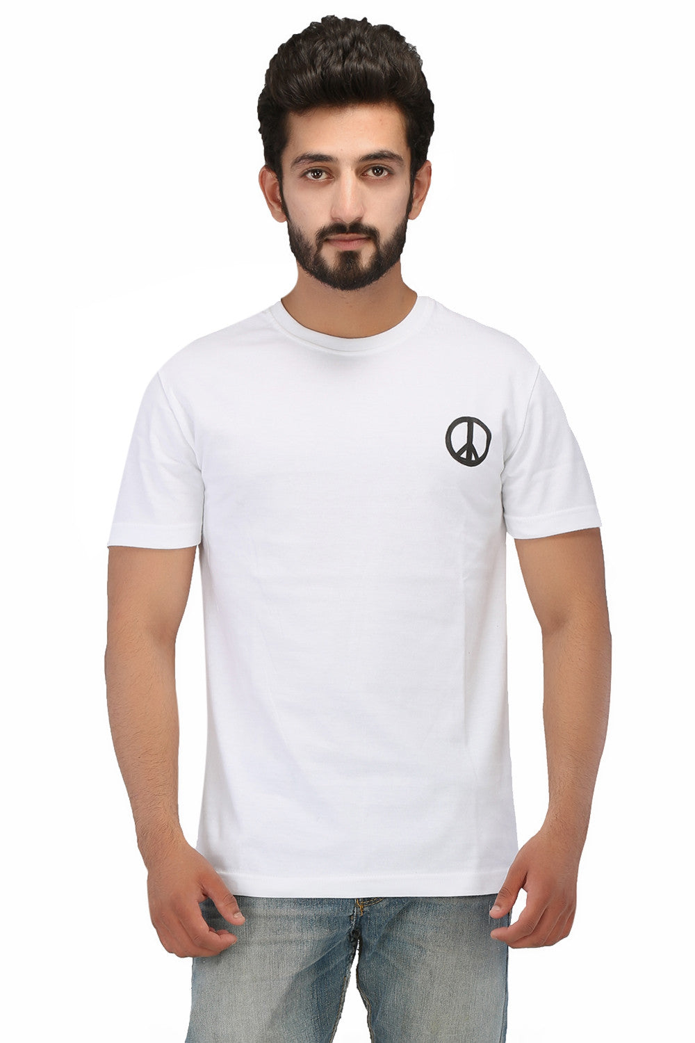 Hand-painted Peace White T-shirt - Rang Rage  - 1