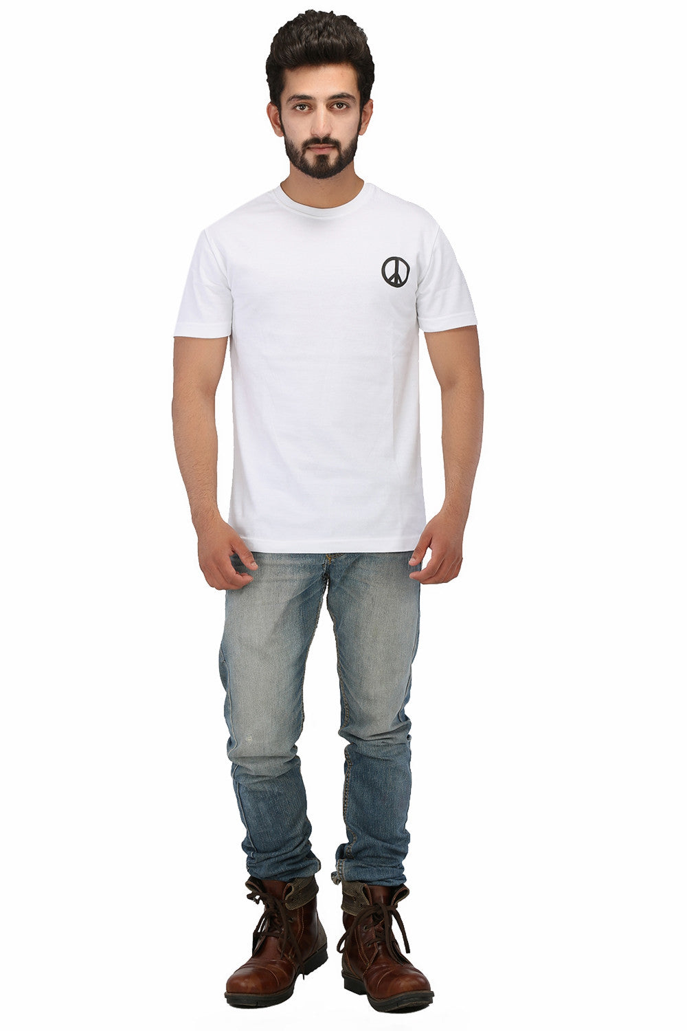 Hand-painted Peace White T-shirt - Rang Rage  - 4