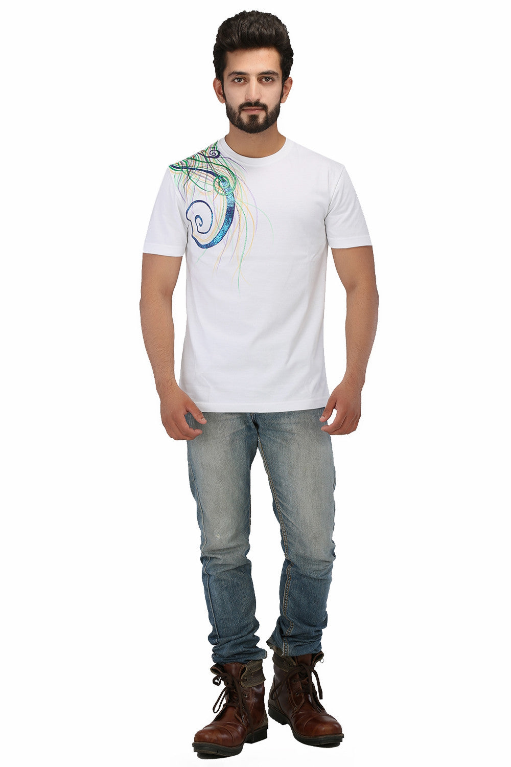 Hand-painted Colourful Sparkles T-shirt - Rang Rage  - 4