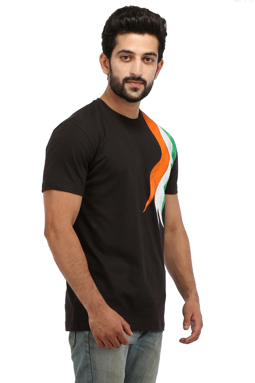 Hand-painted Tri Color Black T-shirt - Rang Rage  - 3