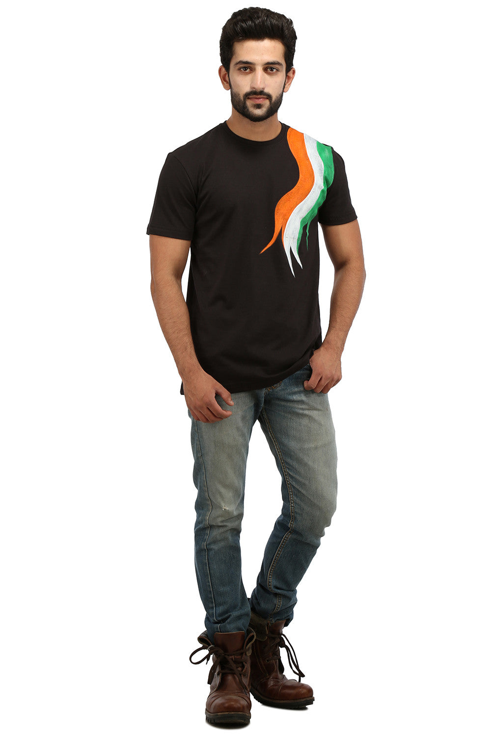 Hand-painted Tri Color Black T-shirt - Rang Rage  - 4