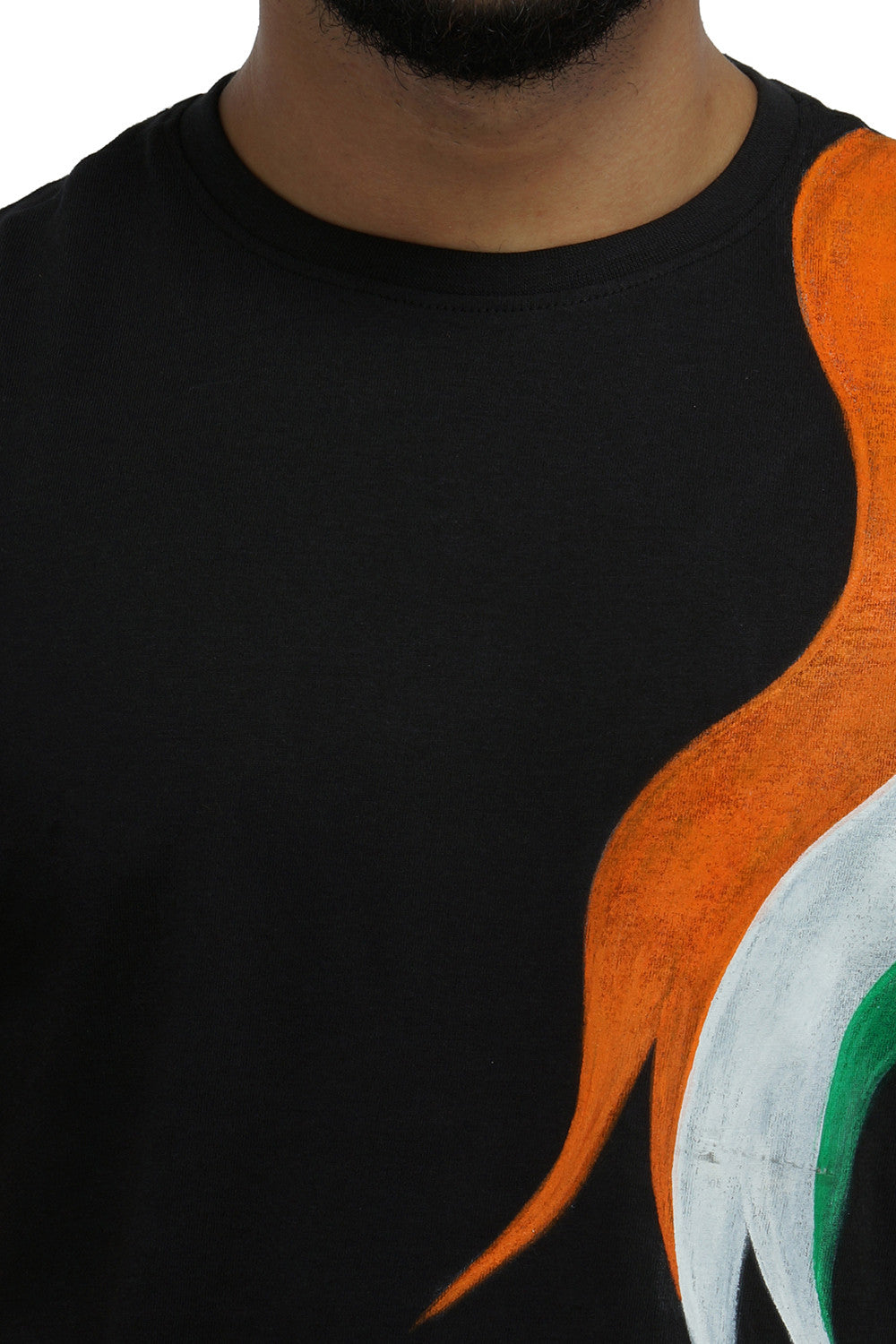 Hand-painted Tri Color Black T-shirt - Rang Rage  - 5