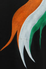 Hand-painted Tri Color Black T-shirt - Rang Rage  - 6