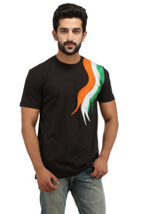 Hand-painted Tri Color Black T-shirt - Rang Rage  - 1