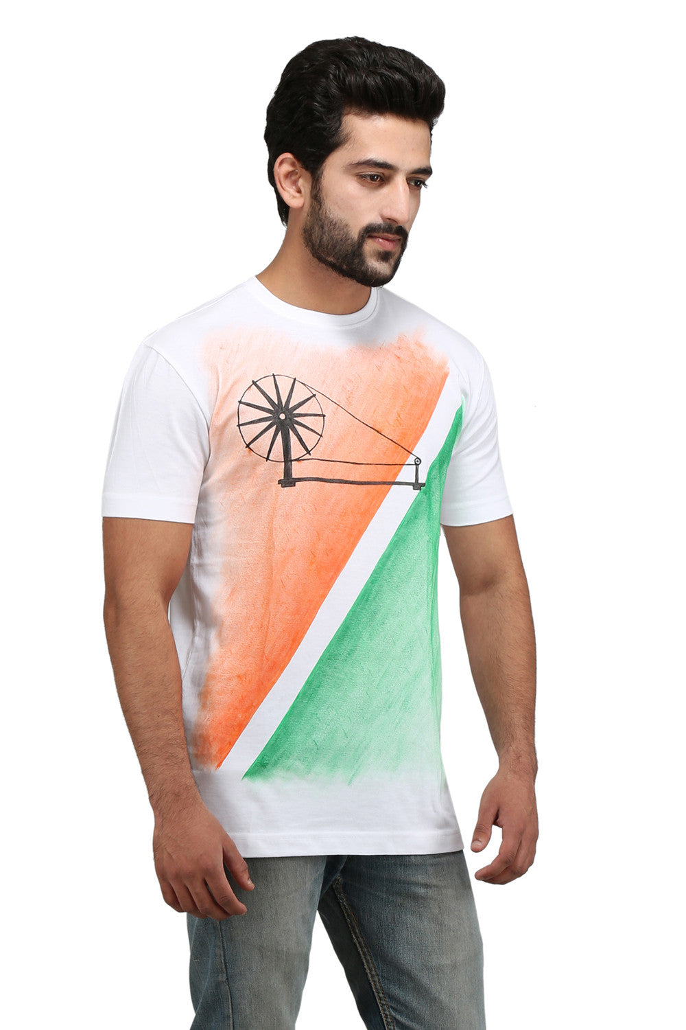 Hand-painted Charkha Tips White T-shirt - Rang Rage  - 3