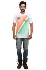 Hand-painted Charkha Tips White T-shirt - Rang Rage  - 4
