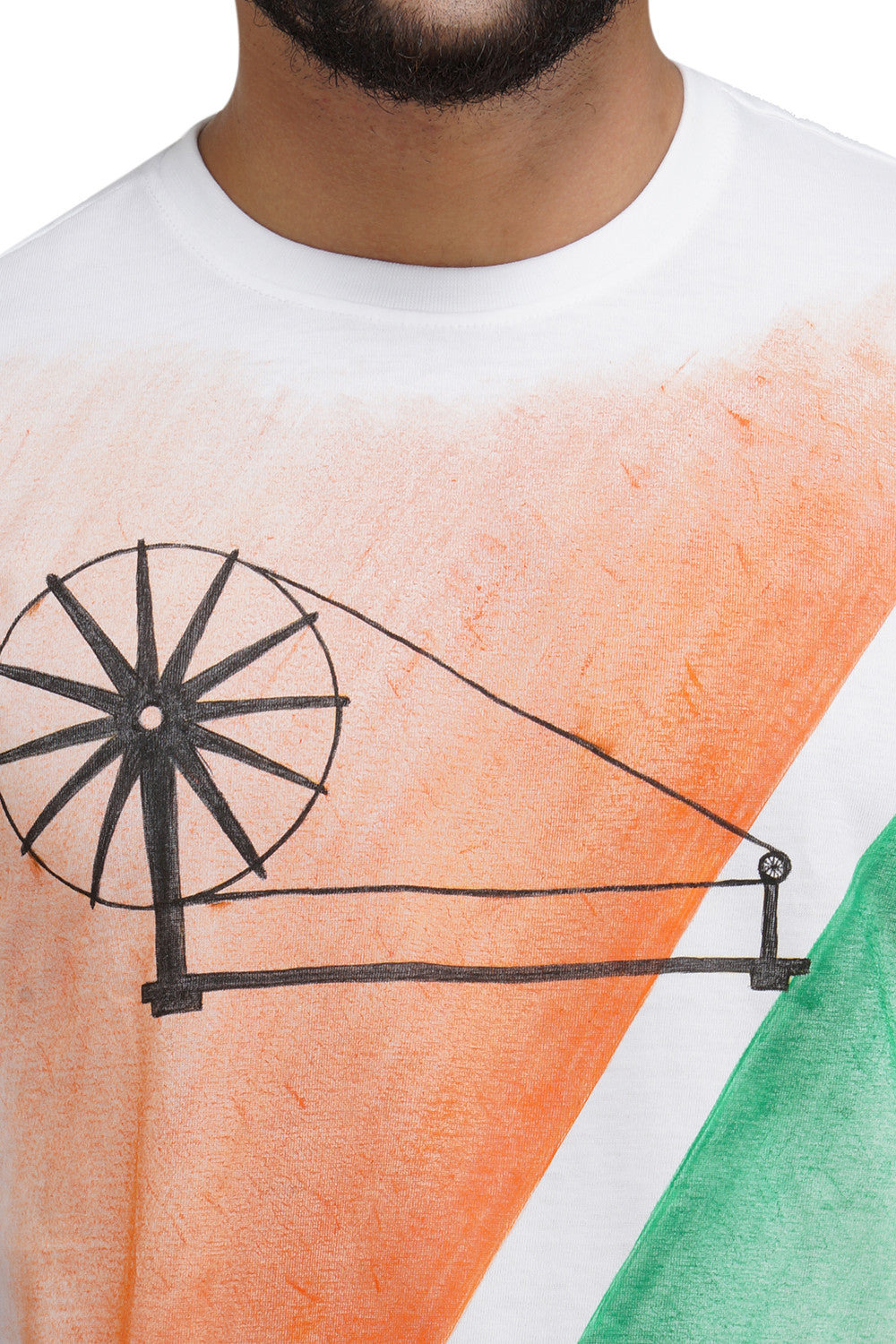 Hand-painted Charkha Tips White T-shirt - Rang Rage  - 5