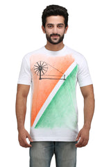 Hand-painted Charkha Tips White T-shirt - Rang Rage  - 1