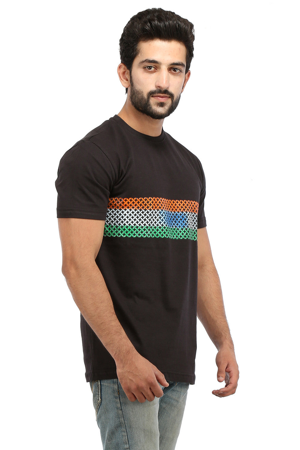 Hand-painted Trio Band Black T-shirt - Rang Rage  - 3