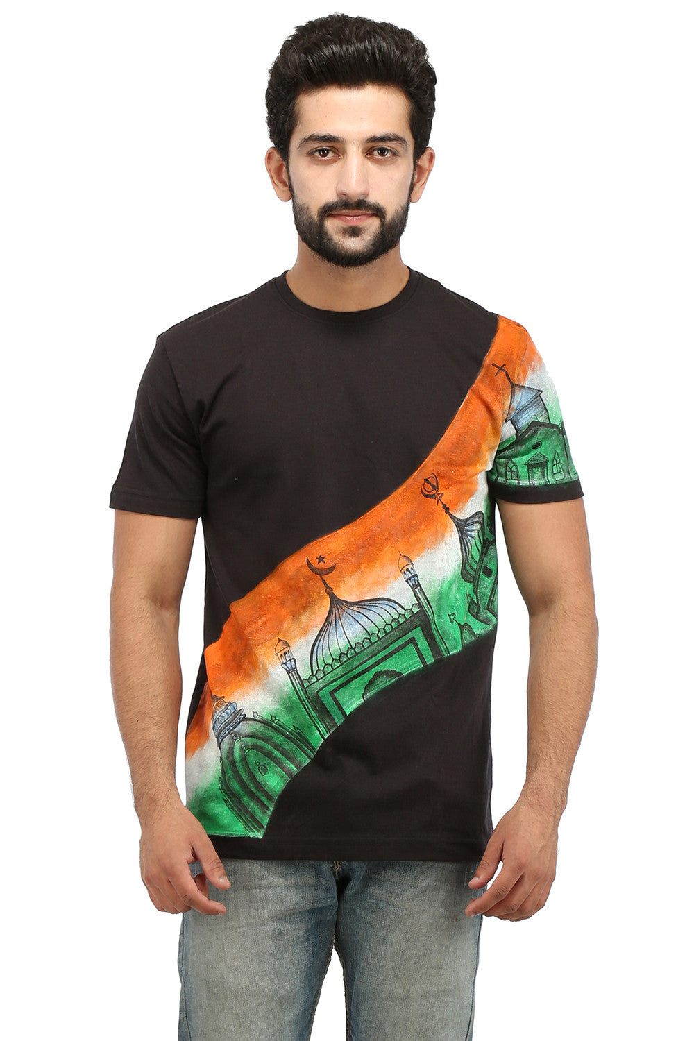 Hand-painted Unified India Black T-shirt - Rang Rage  - 1