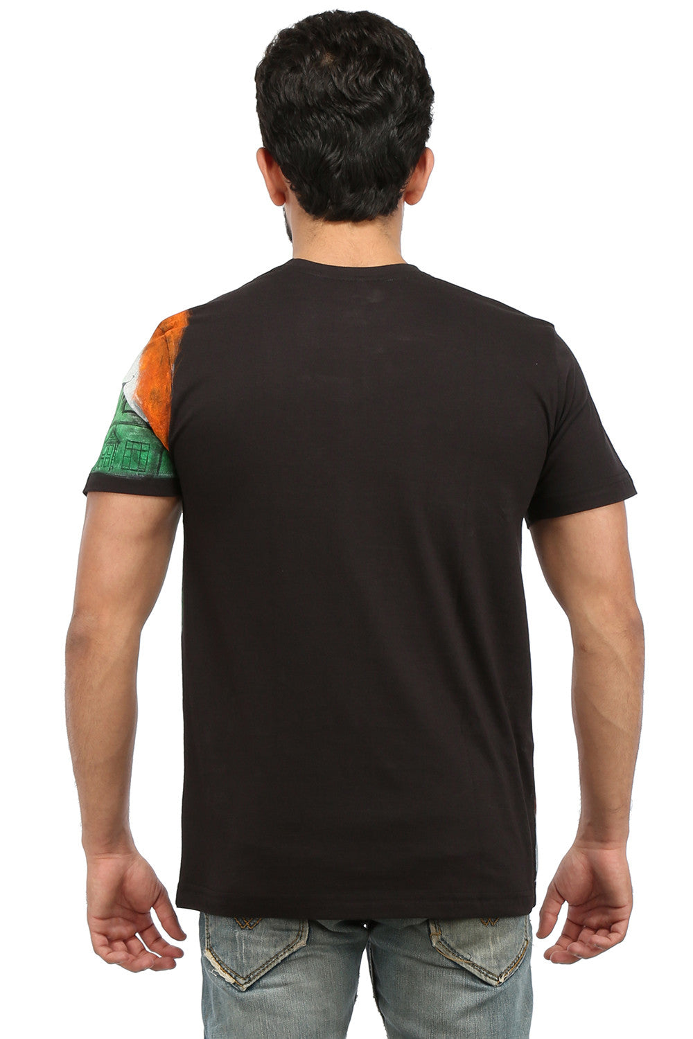 Hand-painted Unified India Black T-shirt - Rang Rage  - 2