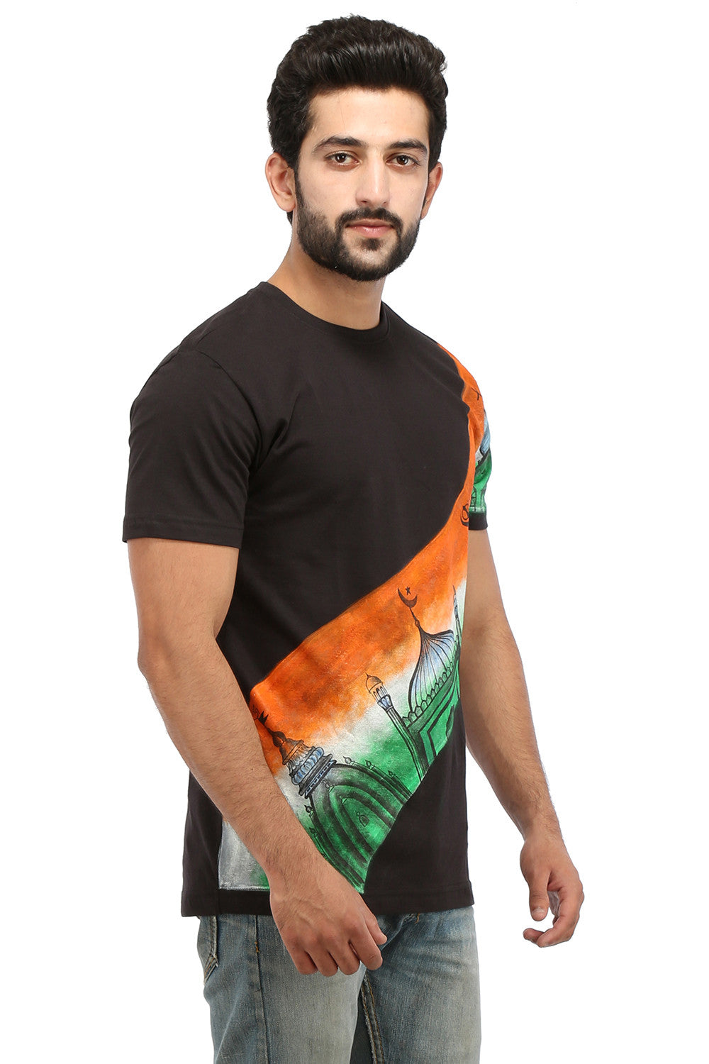 Hand-painted Unified India Black T-shirt - Rang Rage  - 3