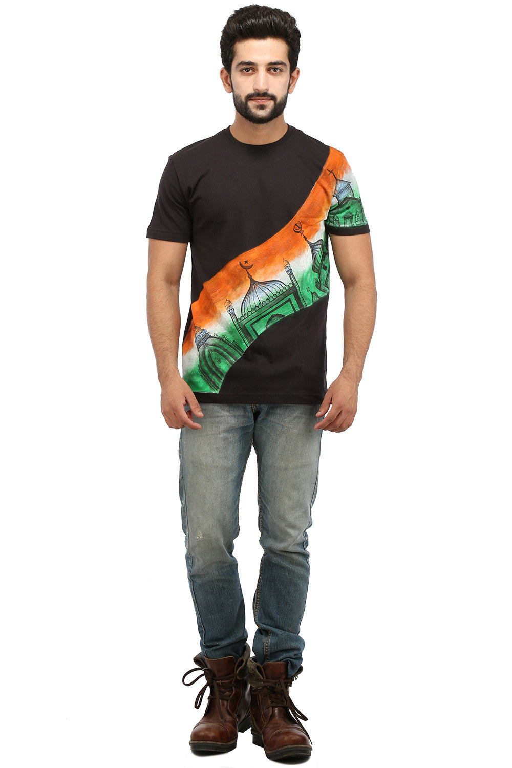 Hand-painted Unified India Black T-shirt - Rang Rage  - 4