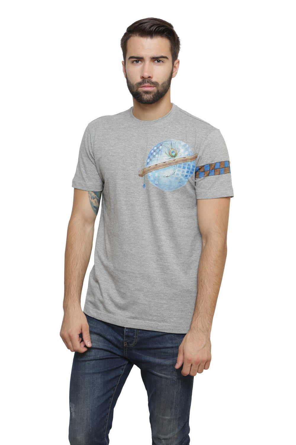 Hand-painted Krishna Elements Grey T-shirt - Rang Rage  - 1