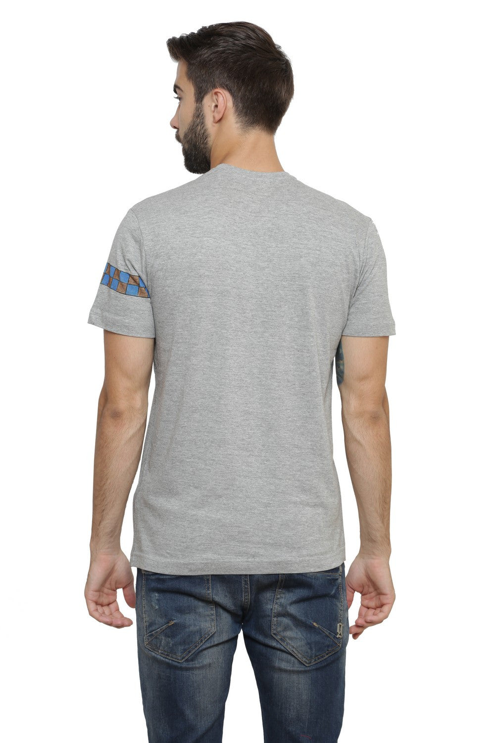 Hand-painted Krishna Elements Grey T-shirt - Rang Rage  - 2