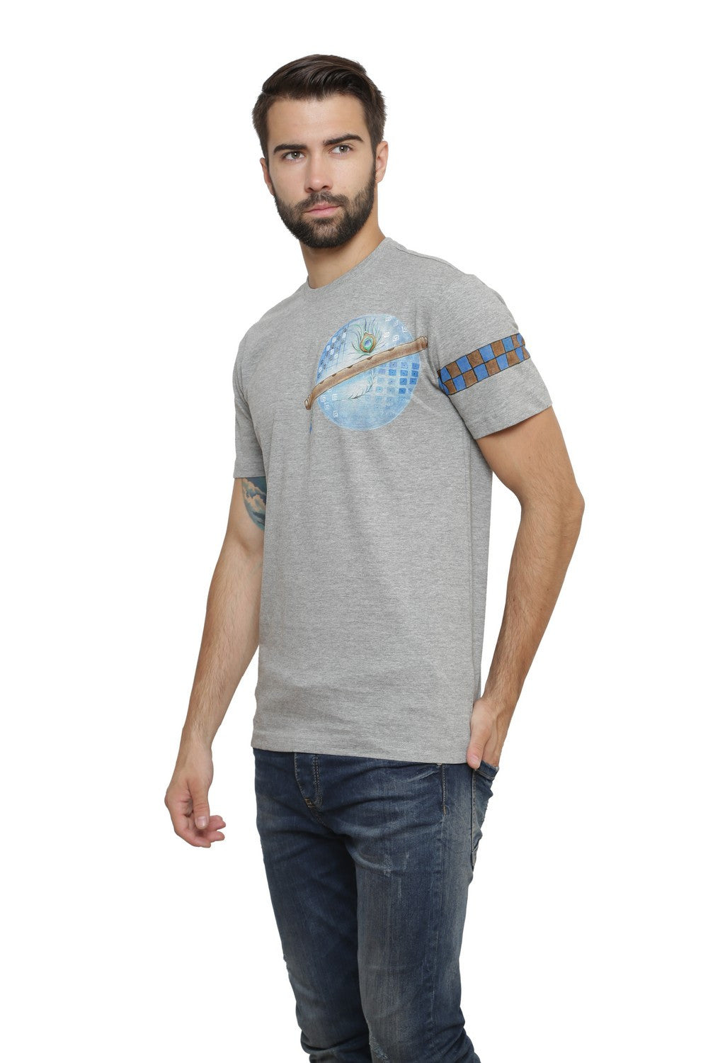 Hand-painted Krishna Elements Grey T-shirt - Rang Rage  - 3