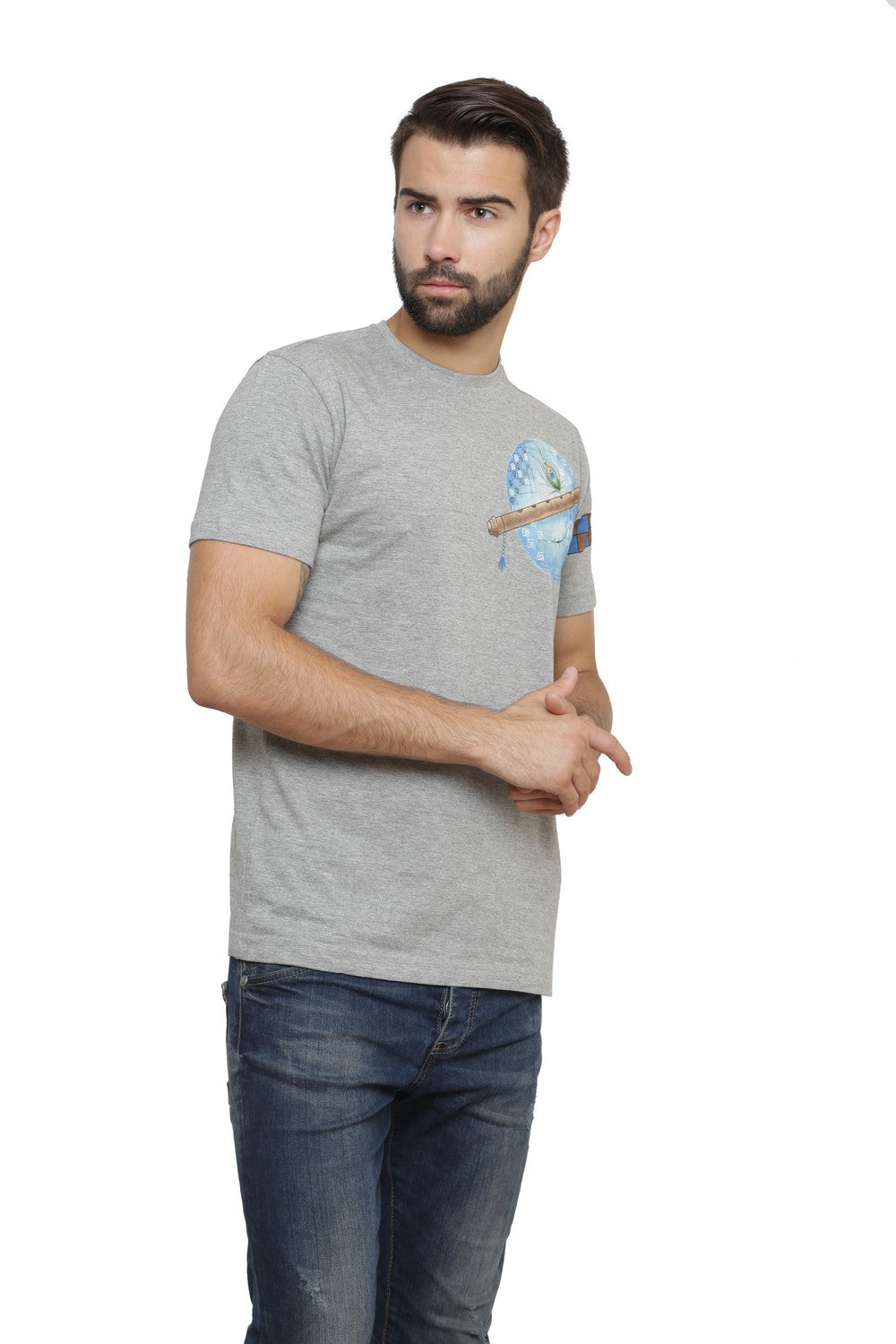 Hand-painted Krishna Elements Grey T-shirt - Rang Rage  - 4