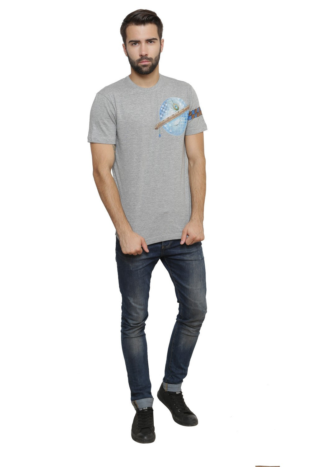 Hand-painted Krishna Elements Grey T-shirt - Rang Rage  - 5