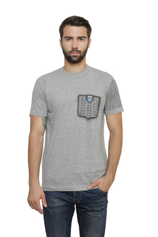 Hand-painted Moroccan Expression Grey  T-shirt