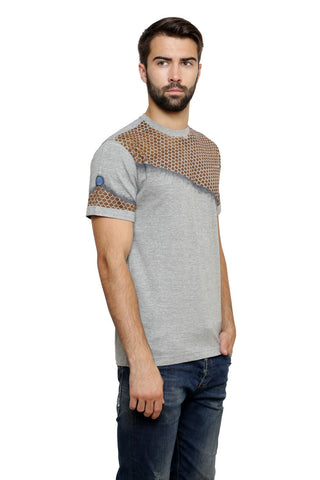 Hand-painted Moroccan Canvas Grey  T-shirt