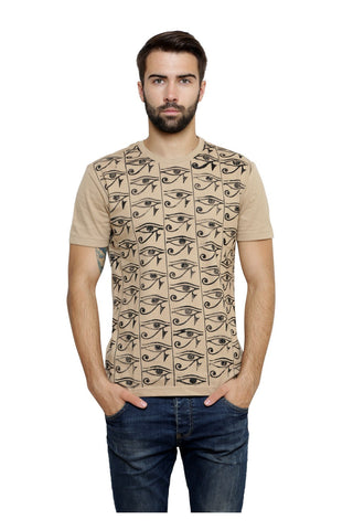 Hand-painted Egyptian Eyes Beige T-shirt