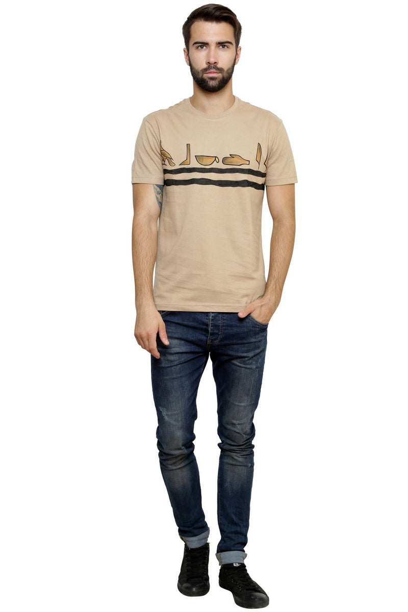Hand-painted Egyptian Ciphers Beige T-shirt - RANGRAGE