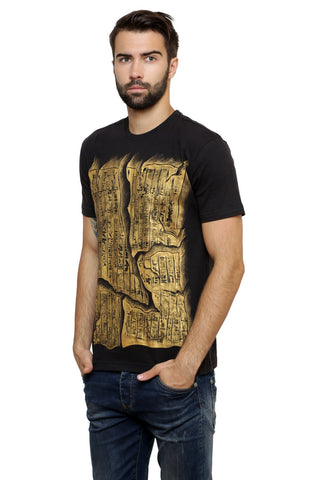 Hand-painted Egyptian Scribbles Black T-shirt