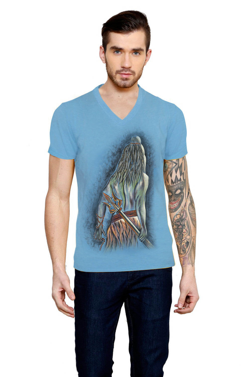 Hand-painted Resolute Shiva T-shirt - Rang Rage  - 1