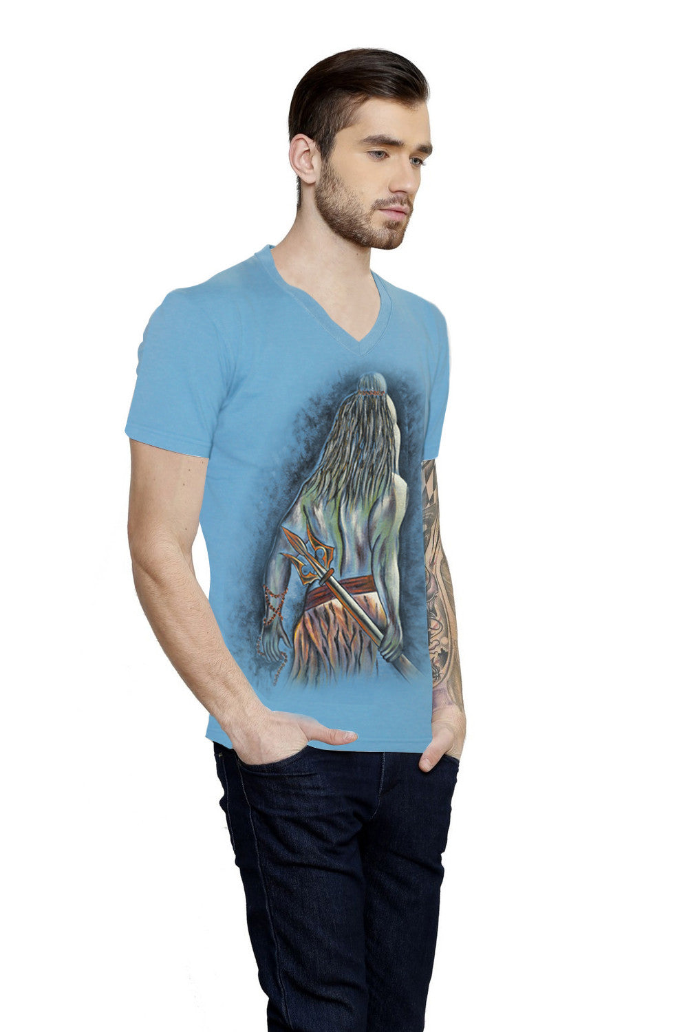 Hand-painted Resolute Shiva T-shirt - Rang Rage  - 4