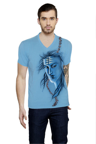 Hand-painted Heroic Shiva Blue T-shirt