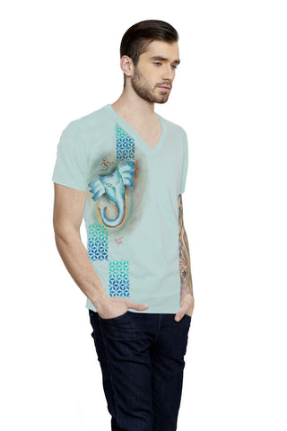 Hand-painted Eternal Reverence Aqua T-shirt