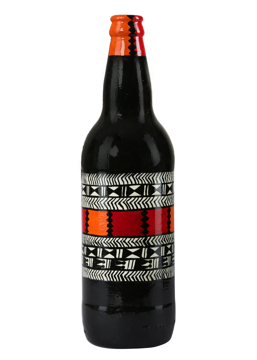 Hand-painted Black Center Warli Twist Decorative Bottle - RANGRAGE