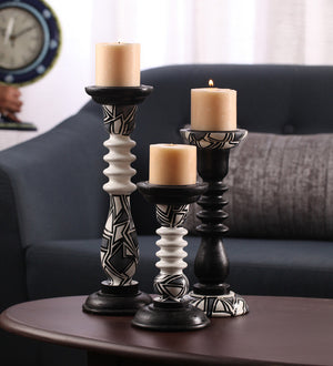 Hand-painted Monochrome Candle Holders