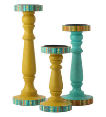Hand-painted Summer Aztec Candle Holders