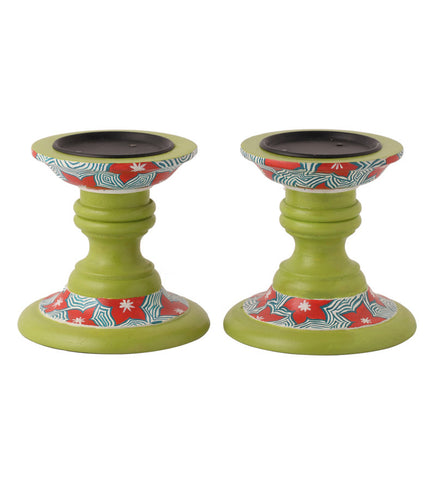 Hand-painted Cool Floral Candle Holders
