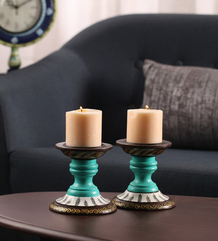 Hand-painted Mughal Delight Candle Holders
