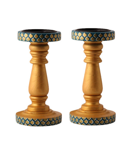 Hand-painted Golden Era Candle Holders