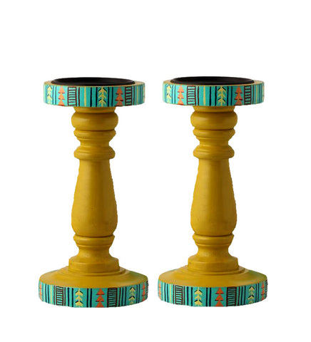 Hand-painted Yellow Delight Candle Holders