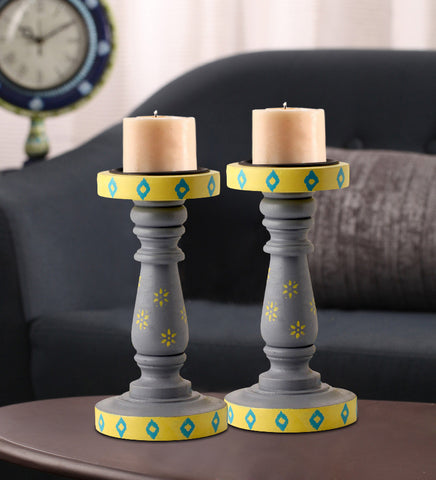 Hand-painted Grey Delight  Candle Holders