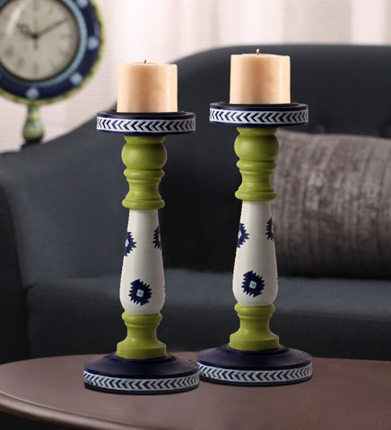 Hand-painted Light Green Candle Holders