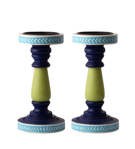 Hand-painted Green Delight Candle Holders