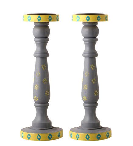 Hand-painted Grey Fest Candle Holders