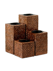 Hand-crafted Floral Gift Candle Holders (Set of 5) Copper