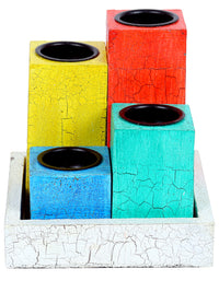 RANGRAGE Multicolour Table Top Wood Pillar Candle Holder with Tray - Pack of 5