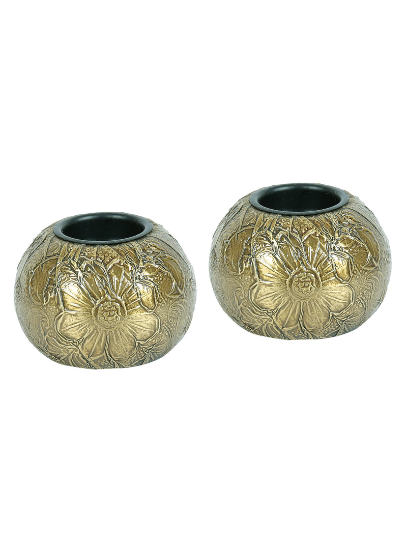 RANGRAGE Gold Table Top Copper Tea Light Candle Holder - Pack of 2