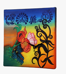 Hand-painted Floral Fervour Wall Clock - RANGRAGE