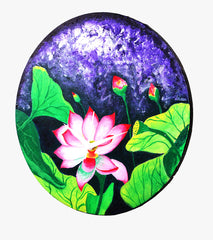 Hand-painted Wondorous Water Lily Wall Clock - RANGRAGE