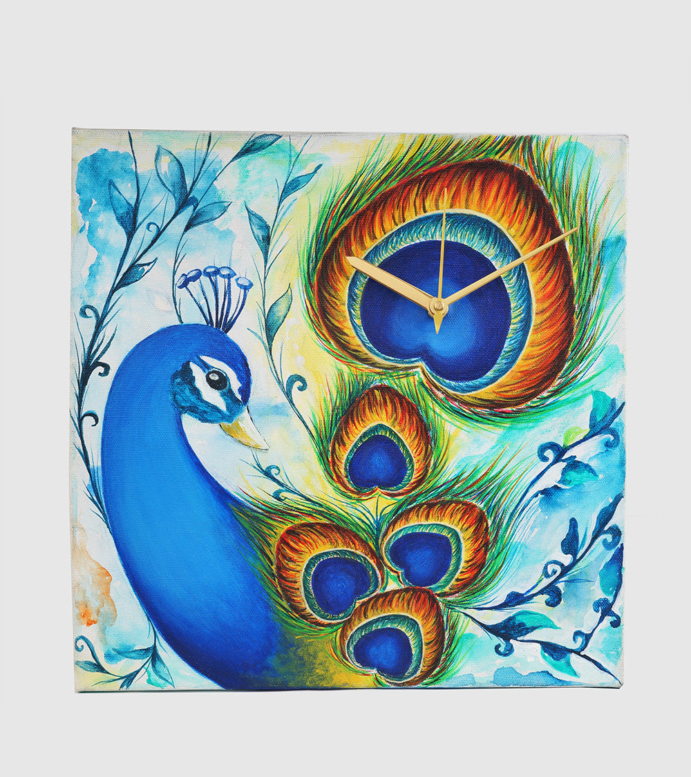 Hand-painted Pleasing Peacock Wall Clock - RANGRAGE
