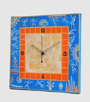 Hand-painted Warli Delight Wall Clock - RANGRAGE